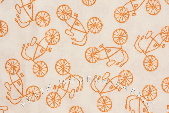 LAST PIECE Half Yard Lucy's Crab Shack Cruisers in Orangesicle, Sweetwater for Moda Fabrics, 100% Cotton Fabric
