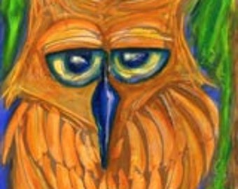 Bamboozled Owl ART print by Erika Johnson 11 x 14in 279.4 x 355.6mm