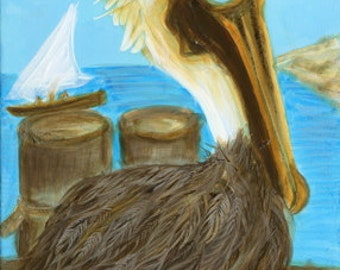 Mayo the Pelican Art Print by Mississippi Artist Erika Johnson 11 x 14 in (279.4 x 355.6 mm)