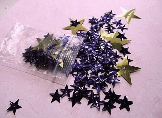190 Purple & Gold STAR Sequins Mix