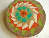 Geometric Triangle Design Brooch  - Colorful Hand-Painted Wood Slice