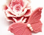 Peony Flower Soap with Butterfly - Decorative Gift Soap - Gift Wrapped TOO