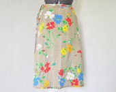 Knee Length Floral Wrap Skirt - 1970s - Size Small/Med