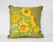 Crewel Embroidered Pillow - Sunflowers on Avocado Green