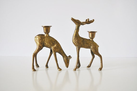 Brass Deer Candle Holders - Buck and Doe