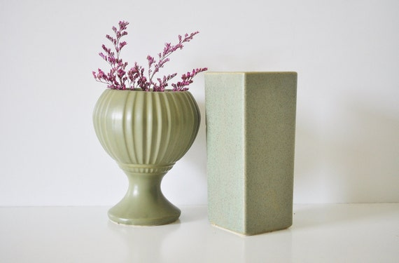 Pair of McCoy Vessels - Olive Green Planter and Vase