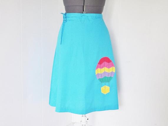 Aqua Knee Length Wrap Skirt - Hot Air Balloon Applique - Size Small