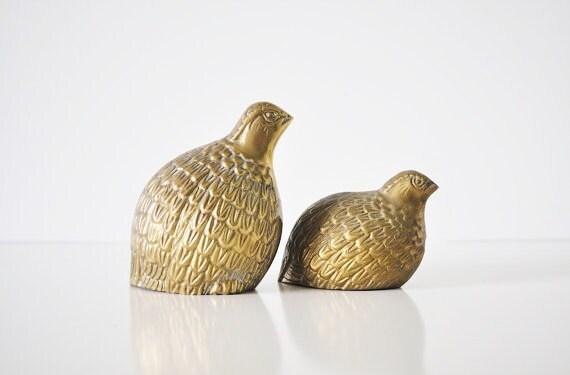 Pair of Brass Quails