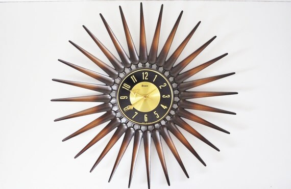 Mid-Century Sunburst Syroco Clock