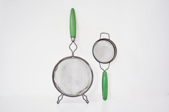 Pair of Vintage Strainers - Green Handled
