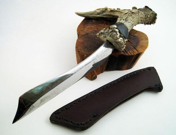 Ebony and Antler Railroad Spike Knife