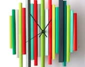 Sticks Sculpture Clock no3 - Original One of a Kind Modern Art Wall Clock Sculpture