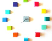 Modern Wall Clock - Clock Cubes no7- 12 Cube Clock - Modern Geometric Sculpture Clock - vibrant bright colors