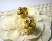 Hand painted flower stud earrings