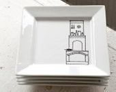 black and white porcelain plates dinnerware - set of four (4) - new orleans fireplace