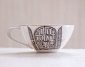 window and door hand drawn illustrations - vintage floral porcelain tea cup