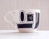 custom chalkboard mug - picture frame cluster - hand painted tea cup