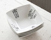 light fixture square bowls - set of four (4) - new orleans inspired - black and white hand drawn illustration