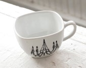 new orleans light fixture tea cup - black and white porcelain mug - hand drawn illustration