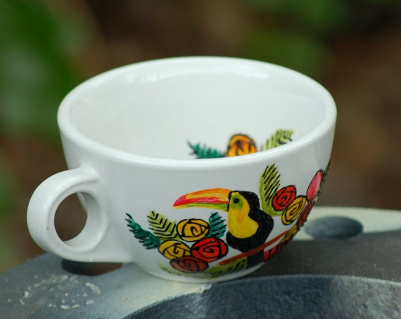 yellow toucan in flowers - hand painted spring birds up-cycled tea cup