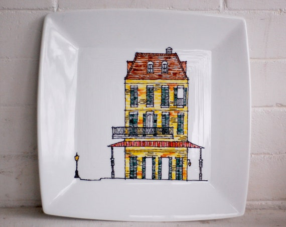 new orleans historic townhouse square dinner plate