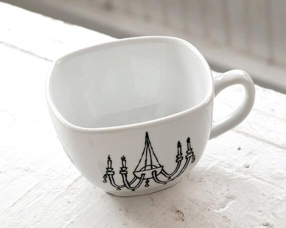 new orleans light fixture tea cup - black and white porcelain mug - hand drawn illustration