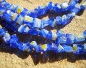 Blue Multicolored Millefiori Glass Chips Full 15 Inch Strand