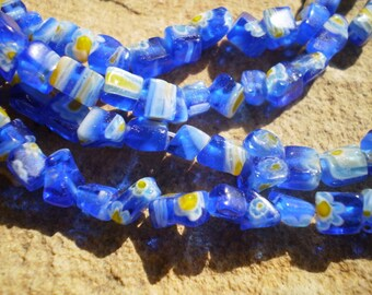 Blue Multicolored Millefiori Glass Chips Full 15 Inch Strand
