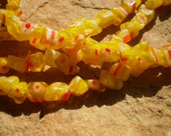 Yellow Multicolored Millefiori Glass Chips Full 15 1/2 Inch Strand