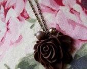 Shabby chic brown rose pendant