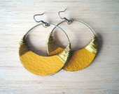 yellow leather and golden wire circular earrings