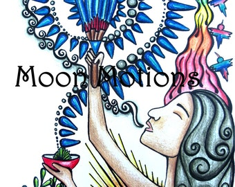 Wall Art- Print- Lady with a Fan- 11x17- Print of Original