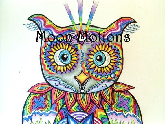 Wall Art- Print- Sacred Wisdoms-  Cosmic Rainbow Owl 8x11- Print of Original