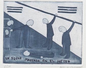 """Engraving """"Man feeling dizzy in the subway"""" (""""Un señor mareado en el metro"""")"""