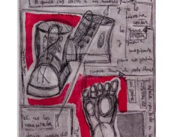 """Engraving: """"Boots"""" (Las botas)"""