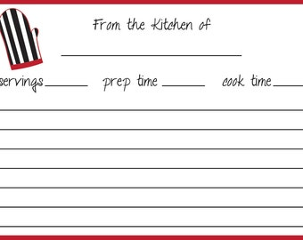 Oven Mitt Recipe Cards