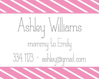 "Striped ""Mommy Of..."" Cards- Mommy Calling Cards"