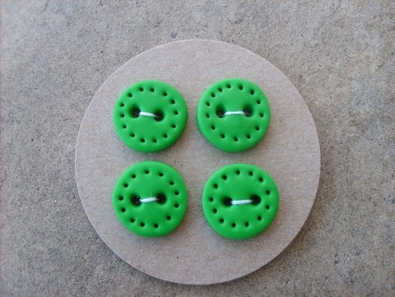 Custom listing for LIZ F -- Handmade Buttons set of 4--Grass Green with dotted edge -- HALF OFF