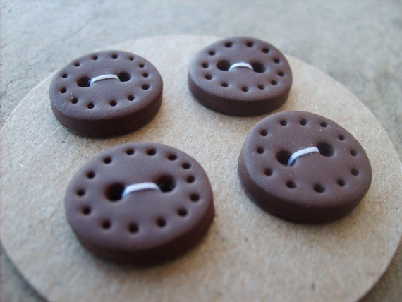 Handmade Buttons set of 4--Tree-hugger Brown with dotted edge -- HALF OFF