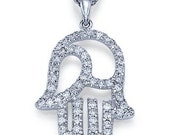 0.50 carats Natural Diamond Hamsa Hand Pendant 14k White Gold