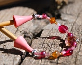 Perky Pink, Pink And Brown Glass Bead Needle Keeper