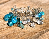 Cool Blue, Knitted Silver Wire and Aqua Blue Glass Bead Bracelet