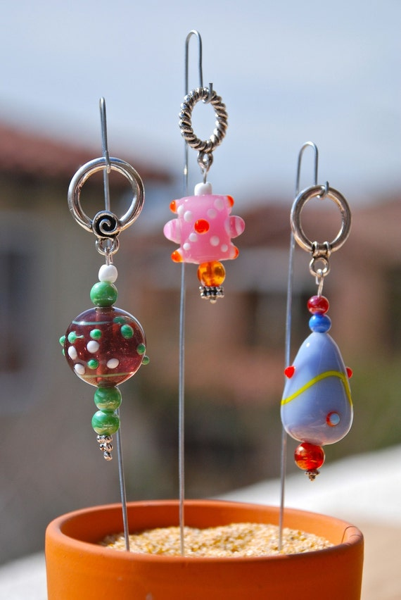 Wacky Easter Eggs, Fancy Purple, Pink, And Green Glass Bead Knitting Stitch Markers