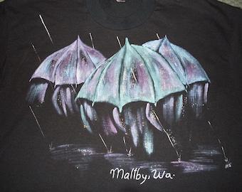 vintage Maltby Washington T Shirt Artist Glitter 80s 50/50 USA XL soft Umbrella Rain