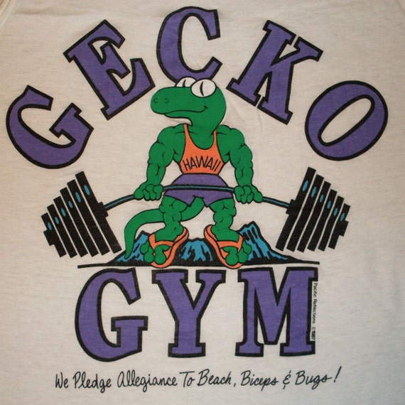 vintage Gecko Tank Top 80s Gym Med/Small 1987 shirt white USA 50/50 Hawaii weightlifting