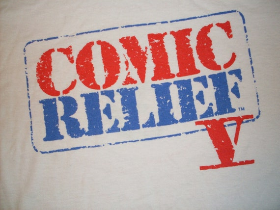 vintage Comic Relief 5 T Shirt 50/50 comedy 1992  Sinbad Whoopi white soft Large USA