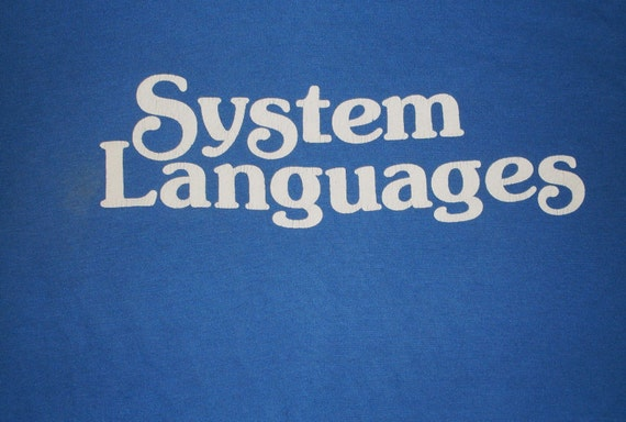 vintage Microsoft T Shirt 80s Software Computers blue 50/50 soft Large USA