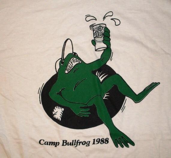 vintage 80s Camp Bullfrog T Shirt mens XL white 1988 Beer party USA