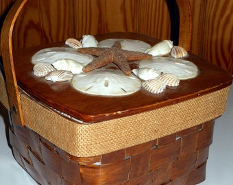 Wondeful Vintage 1950s 60s  Sea Shell Basket Handbag Summer TIme Sweetie Box Purse
