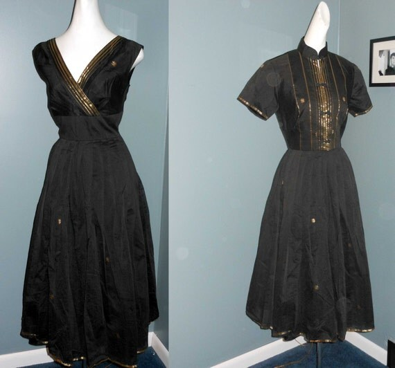 Atomic Vintage 50s Black n Gold Dress with Jacket  Party Daytime Rockabilly Vixen
